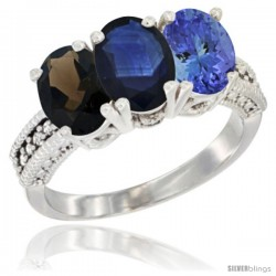 14K White Gold Natural Smoky Topaz, Blue Sapphire & Tanzanite Ring 3-Stone 7x5 mm Oval Diamond Accent