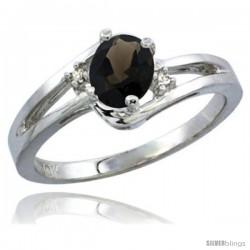 14k White Gold Ladies Natural Smoky Topaz Ring oval 6x4 Stone Diamond Accent -Style Cw407165