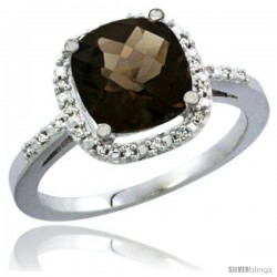 14k White Gold Ladies Natural Smoky Topaz Ring Cushion-cut 3.8 ct. 8x8 Stone Diamond Accent