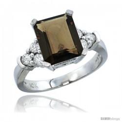 14k White Gold Ladies Natural Smoky Topaz Ring Emerald-shape 9x7 Stone Diamond Accent