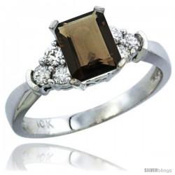 14k White Gold Ladies Natural Smoky Topaz Ring Emerald-shape 7x5 Stone Diamond Accent