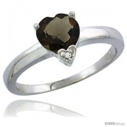 14K White Gold Natural Smoky Topaz Heart-shape 7x7 Stone Diamond Accent