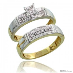 10k Yellow Gold Diamond Engagement Rings Set 2-Piece 0.10 cttw Brilliant Cut, 3/16 in wide