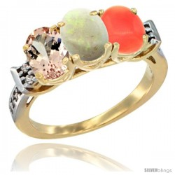 10K Yellow Gold Natural Morganite, Opal & Coral Ring 3-Stone Oval 7x5 mm Diamond Accent
