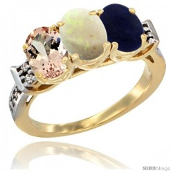 10K Yellow Gold Natural Morganite, Opal & Lapis Ring 3-Stone Oval 7x5 mm Diamond Accent
