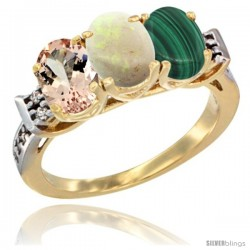 10K Yellow Gold Natural Morganite, Opal & Malachite Ring 3-Stone Oval 7x5 mm Diamond Accent