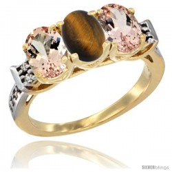 10K Yellow Gold Natural Tiger Eye & Morganite Sides Ring 3-Stone Oval 7x5 mm Diamond Accent