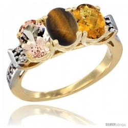10K Yellow Gold Natural Morganite, Tiger Eye & Whisky Quartz Ring 3-Stone Oval 7x5 mm Diamond Accent