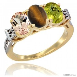 10K Yellow Gold Natural Morganite, Tiger Eye & Lemon Quartz Ring 3-Stone Oval 7x5 mm Diamond Accent