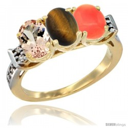 10K Yellow Gold Natural Morganite, Tiger Eye & Coral Ring 3-Stone Oval 7x5 mm Diamond Accent