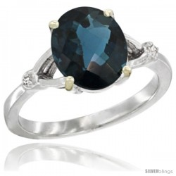10k White Gold Diamond London Blue Topaz Ring 2.4 ct Oval Stone 10x8 mm, 3/8 in wide