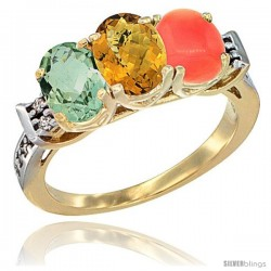 10K Yellow Gold Natural Green Amethyst, Whisky Quartz & Coral Ring 3-Stone Oval 7x5 mm Diamond Accent