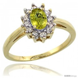 14k Yellow Gold lemon Quartz Diamond Halo Ring Oval Shape 1.2 Carat 6X4 mm, 1/2 in wide