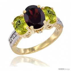 14K Yellow Gold Ladies 3-Stone Oval Natural Garnet Ring with Lemon Quartz Sides Diamond Accent