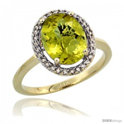 14k Yellow Gold Diamond Halo Lemon Quartz Ring 2.4 carat Oval shape 10X8 mm, 1/2 in (12.5mm) wide