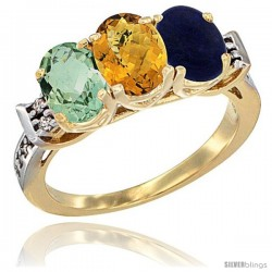 10K Yellow Gold Natural Green Amethyst, Whisky Quartz & Lapis Ring 3-Stone Oval 7x5 mm Diamond Accent