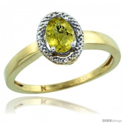 14k Yellow Gold Diamond Halo Lemon Quartz Ring 0.75 Carat Oval Shape 6X4 mm, 3/8 in (9mm) wide