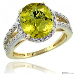 14k Yellow Gold Diamond Halo Lemon Quartz Ring 2.85 Carat Oval Shape 11X9 mm, 7/16 in (11mm) wide