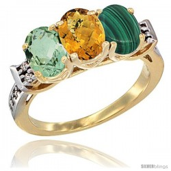 10K Yellow Gold Natural Green Amethyst, Whisky Quartz & Malachite Ring 3-Stone Oval 7x5 mm Diamond Accent