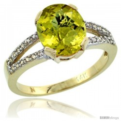 14k Yellow Gold and Diamond Halo Lemon Quartz Ring 2.4 carat Oval shape 10X8 mm, 3/8 in (10mm) wide