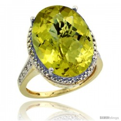 14k Yellow Gold Diamond Lemon Quartz Ring 13.56 ct Large Oval 18x13 mm Stone, 3/4 in wide