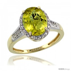 14k Yellow Gold Diamond Lemon Quartz Ring 2.4 ct Oval Stone 10x8 mm, 1/2 in wide