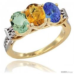 10K Yellow Gold Natural Green Amethyst, Whisky Quartz & Tanzanite Ring 3-Stone Oval 7x5 mm Diamond Accent