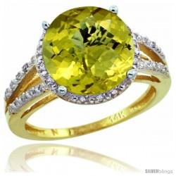 14k Yellow Gold Diamond Lemon Quartz Ring 5.25 ct Round Shape 11 mm, 1/2 in wide