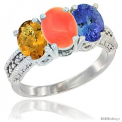 14K White Gold Natural Whisky Quartz, Coral Ring with Tanzanite Ring 3-Stone 7x5 mm Oval Diamond Accent