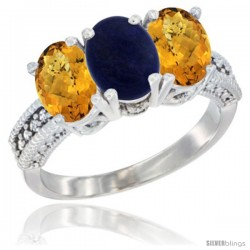 14K White Gold Natural Lapis Ring with Whisky Quartz 3-Stone 7x5 mm Oval Diamond Accent