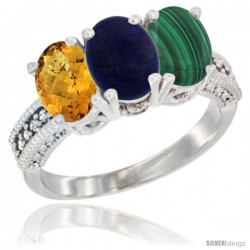 14K White Gold Natural Whisky Quartz, Lapis Ring with Malachite Ring 3-Stone 7x5 mm Oval Diamond Accent