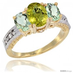 10K Yellow Gold Ladies Oval Natural Lemon Quartz 3-Stone Ring with Green Amethyst Sides Diamond Accent