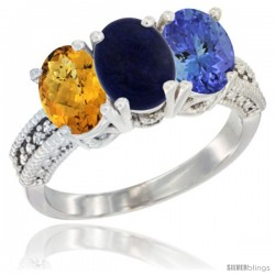 14K White Gold Natural Whisky Quartz, Lapis Ring with Tanzanite Ring 3-Stone 7x5 mm Oval Diamond Accent