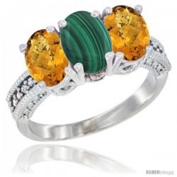 14K White Gold Natural Malachite Ring with Whisky Quartz 3-Stone 7x5 mm Oval Diamond Accent