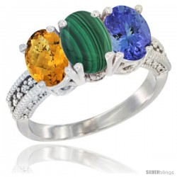 14K White Gold Natural Whisky Quartz, Malachite Ring with Tanzanite Ring 3-Stone 7x5 mm Oval Diamond Accent