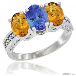 14K White Gold Natural Tanzanite Ring with Whisky Quartz 3-Stone 7x5 mm Oval Diamond Accent