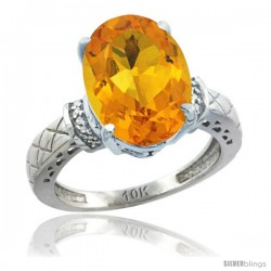 10k White Gold Diamond Citrine Ring 5.5 ct Oval 14x10 Stone