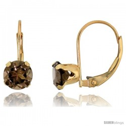 10k Yellow Gold Natural Smoky Topaz Leverback Earrings 6mm Brilliant Cut, 9/16 in tall