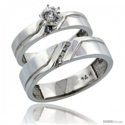 14k White Gold 2-Piece Diamond Ring Band Set w/ Rhodium Accent ( Engagement Ring & Man's Wedding Band ), w/ 0.15 Carat