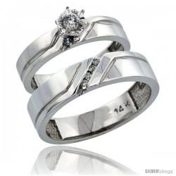 14k White Gold 2-Piece Diamond Ring Band Set w/ Rhodium Accent ( Engagement Ring & Man's Wedding Band ), w/ 0.15 Carat