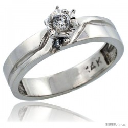 14k White Gold Diamond Engagement Ring w/ 0.10 Carat Brilliant Cut Diamonds, 5/32 in. (4mm) wide