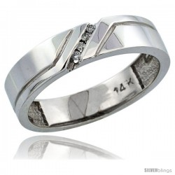14k White Gold Men's Diamond Ring Band w/ 0.05 Carat Brilliant Cut Diamonds, 3/16 in. (5mm) wide
