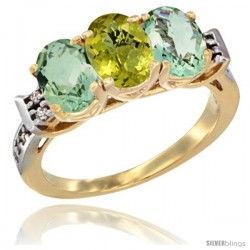 10K Yellow Gold Natural Lemon Quartz & Green Amethyst Sides Ring 3-Stone Oval 7x5 mm Diamond Accent