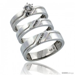 14k White Gold 3-Piece Trio His (5mm) & Hers (4mm) Diamond Wedding Ring Band Set w/ 0.19 Carat Brilliant Cut Diamonds
