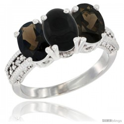 14K White Gold Natural Black Onyx & Smoky Topaz Ring 3-Stone 7x5 mm Oval Diamond Accent