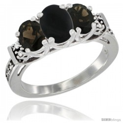 14K White Gold Natural Black Onyx & Smoky Topaz Ring 3-Stone Oval with Diamond Accent