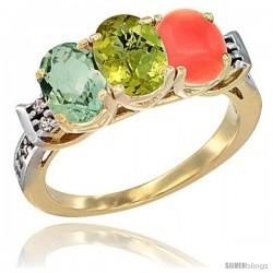 10K Yellow Gold Natural Green Amethyst, Lemon Quartz & Coral Ring 3-Stone Oval 7x5 mm Diamond Accent