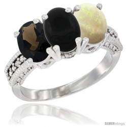 14K White Gold Natural Smoky Topaz, Black Onyx & Opal Ring 3-Stone 7x5 mm Oval Diamond Accent