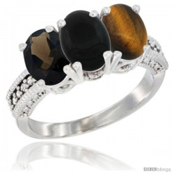 14K White Gold Natural Smoky Topaz, Black Onyx & Tiger Eye Ring 3-Stone 7x5 mm Oval Diamond Accent