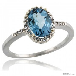 10k White Gold Diamond London Blue Topaz Ring 1.17 ct Oval Stone 8x6 mm, 3/8 in wide